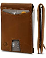 RFID Blocking Slim Minimalist ID Inside Front Pocket Wallet, Money Clip, 9 Slots, Leather (Light Brown w/Pull Out Tab)