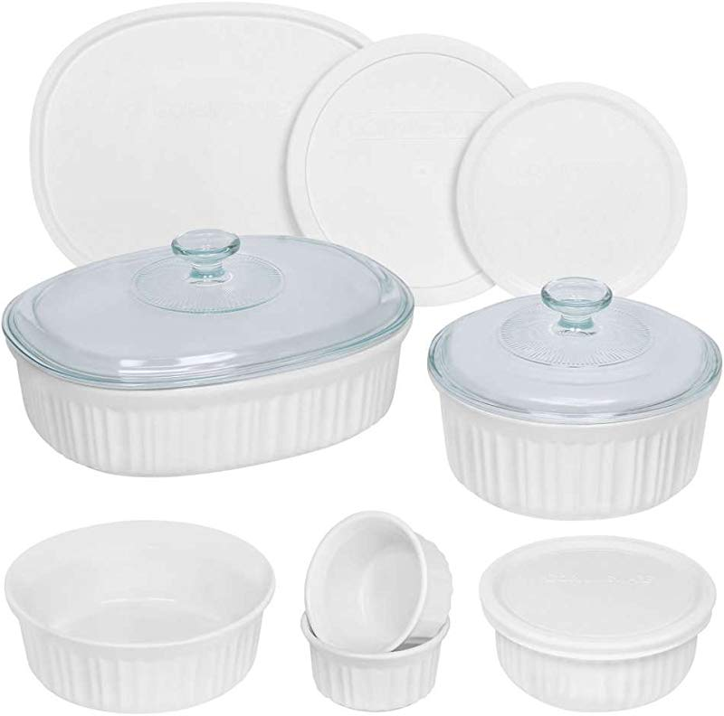 CorningWare French White Round And Oval Bakeware Set 12 Piece