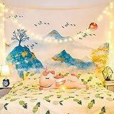 Tapiz para el hogar tela para colgar nuevo paisaje solar japonés colgante de pared decoración de la cabecera del hogar tapiz de pared de fondo-mundo flotante_1.3 metros de alto * 1.5 metros de ancho