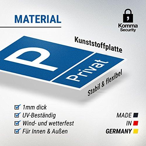 Parkplatz Schild Privat (blau, 20 x 30cm), Hinweisschild Privatparkplatz, Privatgrundstück, Parkplatzschild Reserviert – Parkplatz freihalten, vermietet, Parkverbot für Falschparker - 3