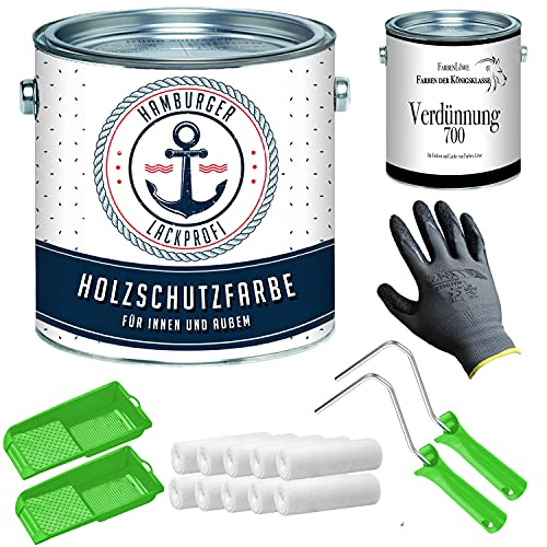 PU Holzschutzfarbe SEIDENMATT Karminrot RAL 3002 Rot Wetterschutzfarbe Holzfarbe Holzlack - PU verstärkt & UV-beständig + Lackier-SET (X300) & Verdünnung (1 L) // Hamburger Lack-Profi (5 L)