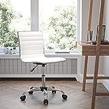 Flash Furniture Silla de escritorio giratoria, acanalada, respaldo bajo, sin reposabrazos, color Blanco