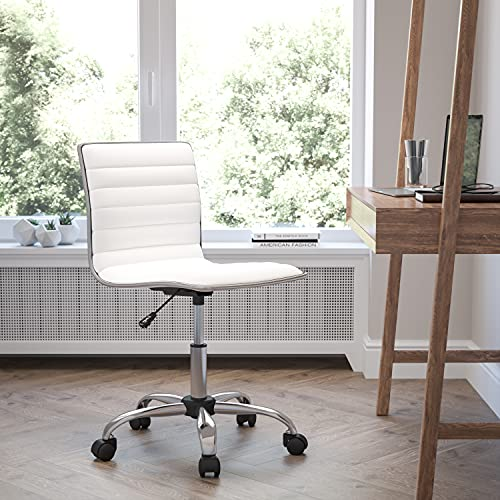 Flash Furniture Low Back Designer Armless White Ribbed ...