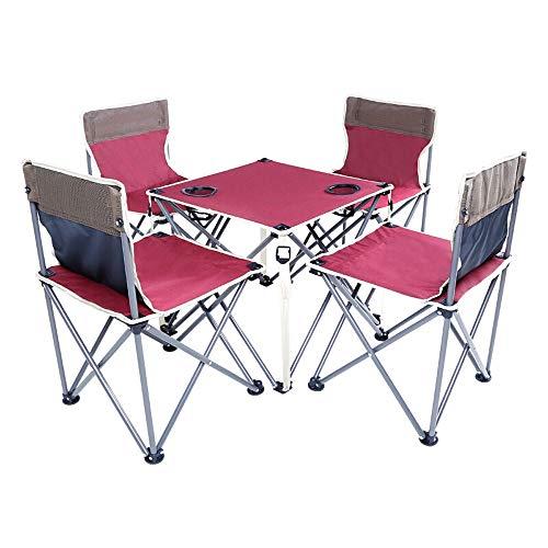 Alppq Outdoor Klapptisch Und Stuhl Anzug Tragbaren Tisch Und Stuhl Kombination Anzug Camping Picknicktisch Und Stuhl Utility Klapptisch Fuchsia 5-teiliges Set