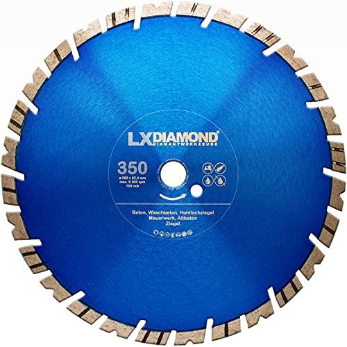 LXDIAMOND Disco de corte de diamante 350 mm x 25,4 mm Premium Turbo 15 mm segmento para hormigón armado, ladrillo apto para mesas de corte Motorflex Disco de diamante 350 mm en calidad premium