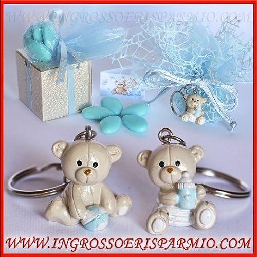 Anh er Schlüsselanh er aus Kunstharz Glänzend A Form von B n Bonboniere für Geburt, Taufe, Kindergeburtstag kit 12 pz. Rosa in scatola