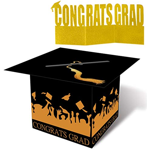 Large Graduation Card Box Centerpiece - Grad Party Supplies 2020 Congrats Decorations Holder 13 x 10 Inches(Assemble Needed)