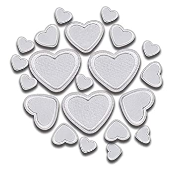 Iron On Patches - White Heart Patch 21 pcs Iron On Patch Applique A-23