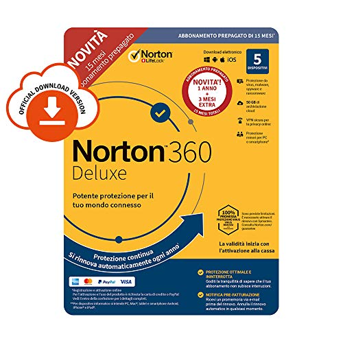 Norton 360 Deluxe 2020 | 5 Dispositivi | Licenza di 15 Mesi  con Rinnovo Automatico| Secure VPN e Password Manager | PC, Mac, Tablet e Smartphone | Codice d'attivazione via Email