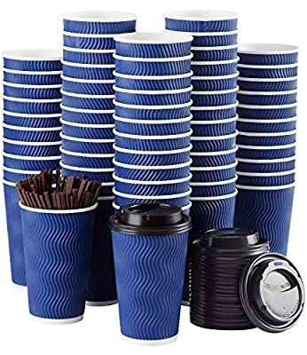Disposable Coffee Cups with Lids and Straws - 16 oz (90 Set) Togo Hot Paper Coffee Cup with Lid To Go for Beverages Espresso Tea Insulated Reusable Cold Drinks Ripple Cups Protect Fingers From (Blue)
