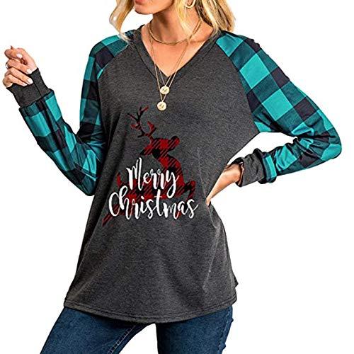 Xmiral Christmas Tops Frauen Langarm V-Ausschnitt Plaid Bedruckte Bluse Beiläufig Slim Fit Damen Weihnachtshemd(g-Blau,XL)