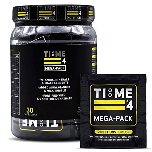 Time 4 Mega - Pack 30 Days Supply - Ultra High Strength Vitamins, Minerals, Trace Elements, Herbal Extracts, Omega 3 Fatty Acids, L-Carnitine, CoQ10, Liver Support & Nootropic Complex