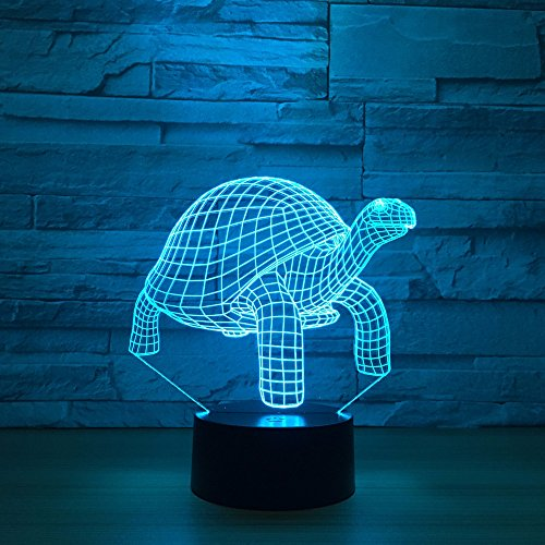 3D Illusion Lamp Animal Turtle Led Night Light, USB Powered 7 Colours Flashing Touch Switch Bedroom Decoration Lighting for Kids Christmas Gift