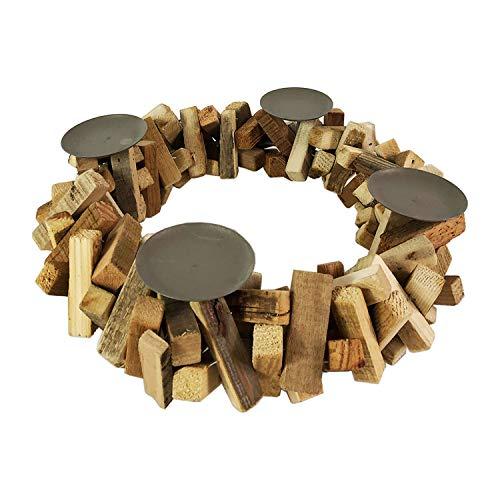 FineHome Adventskranz Holzkranz rund Ø38cm Kerzenständer Weihnachtsdeko Weihnachten Dekokranz