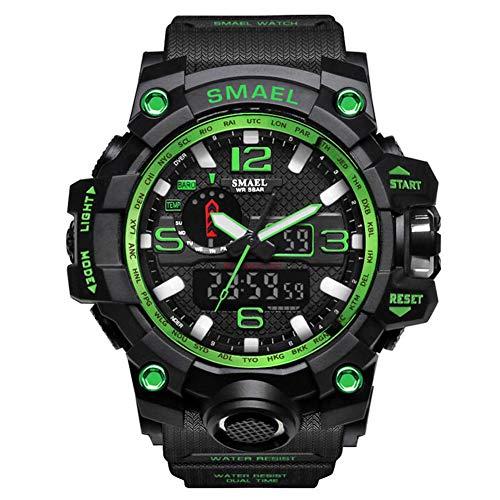 SMAELBand Männer Military Watch 50m wasserdichte Armbanduhr LED Quarzuhr Sportuhr Männliche Sportuhr Men S Shock,Green