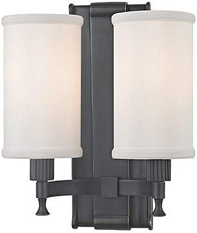 Amazon Com Hudson Valley Lighting 1122 Ob Palmdale Two Light Wall Sconce Old Bronze Finish With White Faux Silk Shade Home Improvement