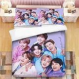 BTS Bedding Sets 3D Bed Set 3Pcs Duvet Cover Full Size Bedroom Decor for Boys Girls Adult Gift 1 Quilt Cover + 2 Pillowcases (No Comforter)