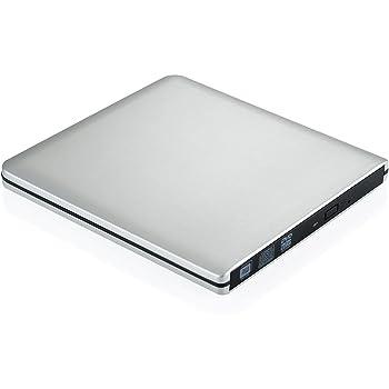 [Version ameliorée] TopElek USB 3.0 Lecteur/Graveur CD/DVD-RW lecteur dvd externe lecteur et enregistreur DVD/CD utra-Slim pour Apple MacBook, Pro, Air, toutes les systèmes Mac OS, Windows XP, Vista,7, 8 Câble USB3.0 fourni–Argent