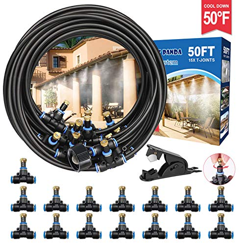 Misters for Outside Patio,50FT Outdoor Misting Cooling System kit for Fan, Porch, Umbrella, Deck, Canopy, Pool, Backyard Misting Systems Mist Hose,Water Misters for Garden, Greenhouse, Yard, Waterpark