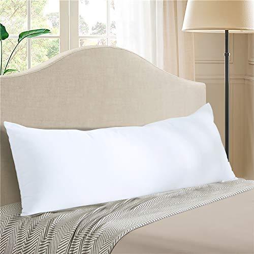 EVOLIVE Almohada corporal de microfibra ultra suave a media densidad, almohada para dormir de lado largo para adultos y embarazadas (blanco, almohada corporal de 50,8 x 137 cm)
