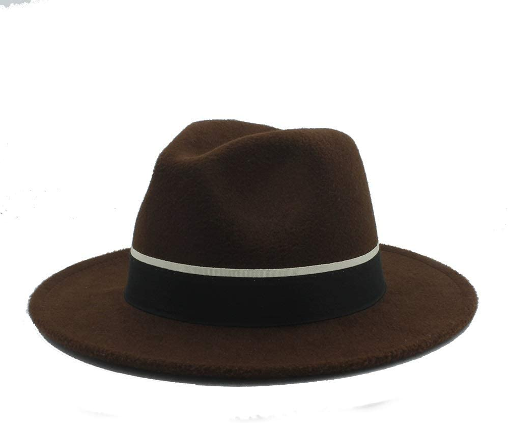LHZUS Hats Men Women Casual Fedora Hat with Black Cloth Belt Pop Wide Brim Jazz Hat Wild Church Fascinator Hat Size 56-58CM (Color : Coffee, Size : 56-58)