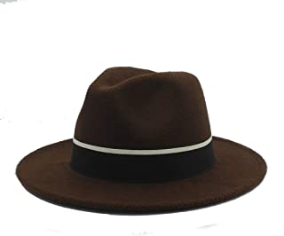 SHENTIANWEI Men Women Fedora Hat with Black Cloth Belt Pop Wide Brim Jazz Hat Casual Wild Church Fascinator Hat Size 56-58CM