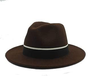 SHENTIANWEI Men Women Fedora Hat with Black Cloth Belt Pop Wide Brim Jazz Hat Casual Wild Church Fascinator Hat Size 56-58CM