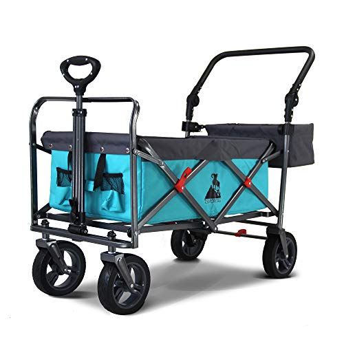 TOPWELL All-Terrain Wheels Garden Wagon, Heavy Duty Wheelbarrow Folding Cart with 360° Rotating Front Wheels, Shopping Cart Trolley with One-Foot Brake, Push Handle, Basket, Load up to 120KG