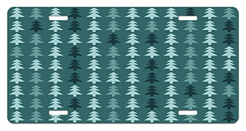 Ambesonne Teal License Plate, Abstract Pine Fir Tree Silhouettes Triangular Christmas Wintertime Seasonal Forest Pattern, High Gloss Aluminum Novelty Plate, 5.88' X 11.88', Teal