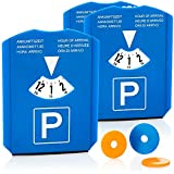 com-four® 3X Disco di Parcheggio con Raschietto per Ghiaccio, Labbro di Gomma e Chip per Carrello della Spesa - Parchimetro in Plastica (03 Pezzi - Disco di parcheggio con Chip)