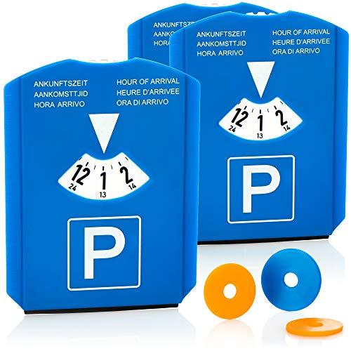 com-four® 3X Parkscheibe mit Eiskratzer, Gummilippe und Einkaufswagenchip - Parkuhr aus Kunststoff (03 Stück - Parkscheibe mit Chip)