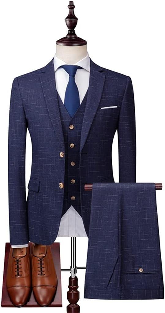 UXZDX CUJUX 3 Pieces Suit Set/Men's Fashion Banquet Business British Style Slim Custom Plaid Blazers Trousers (Color : Blue, Size : M Code)