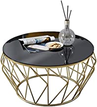 Living Room Table Furniture Living Room Coffee Table Modern Side Table - Round Black Glass Desktop and Metal Frame,Gold,80...