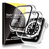[2 Pack] HATOSHI Hard Case for Apple Watch 40mm Series 6/5/4/SE Built-in Tempered Glass Screen Protector, Ultra-Thin All Around Protective Glass Screen Cover for iWatch 40mm (Clear)
