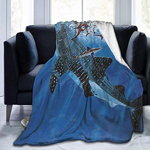 Flannel Fleece Blanket Full Size Ocean Whale Sharks Blanket,All-Season Plush Blanket for Couch Bed Travelling Camping Or Kids Adults 50'X40'