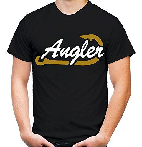 Angler Männer und Herren T-Shirt | Angeln Angel Fishing Fischen Sport (XXL, Schwarz)