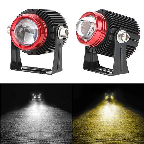 QOHFLD Motorrad Blinker 2PCS LED-Scheinwerfer Auto Cannon Lights Motorrad LED-Scheinwerfer Zusatzlampe Zweifarbiges Fernlicht