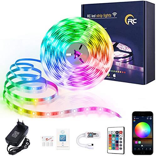 Tira de luces LED, 5 m, 5050 RGB, cambio de color, sincronización con música, funciona con Android, IOS, Alexa, Siri, IFTTT