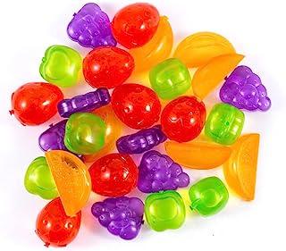 CBU 32 Pack Reusable Ice Cube, Plastic Ice Cube, Fruit Shape, BPA Free, Refreezable,Washable