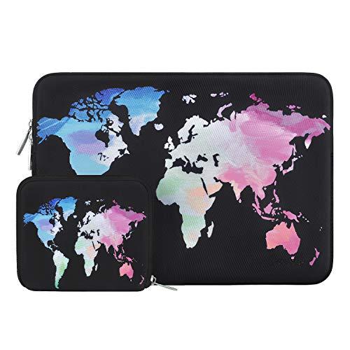 MOSISO Wasserabweisend Neopren Hülle Sleeve Tasche Kompatibel mit 13-13,3 Zoll MacBook Pro, MacBook Air, Notebook Computer Laptophülle Laptoptasche Notebooktasche mit Kleinen Fall, Schwarz Weltkarte