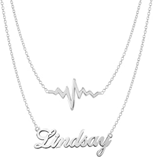 925 Sterling Silver Personalized Double Chain Name Necklace with Heartbeat Pendant Custom Made with Any Names