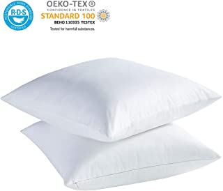 Accuratex White Feather Down Pillows (Set of 2) - 18x18 inch Square Sofa and Couch Cushion, Feather Throw Pillow with 100% Cotton Removable Zipped Cover