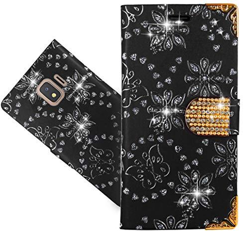 Samsung Galaxy J2 Core Handy Tasche, FoneExpert® Wallet Hülle Cover Bling Diamond Hüllen Etui Hülle Ledertasche Lederhülle Schutzhülle Für Samsung Galaxy J2 Core