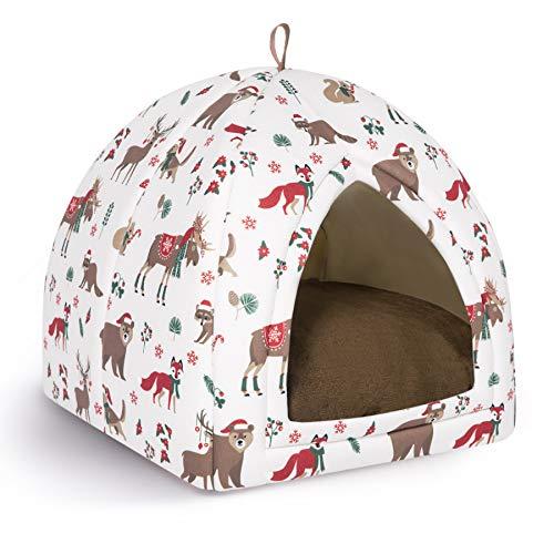 Bedsure Cama Gato Cueva Navidad Suave - Casa Gato Mediano Lavable con Patrón de Reno Navideño con Cojín Desenfundable y Extraíble, Camas para Perros Pequeños 35x35x39cm