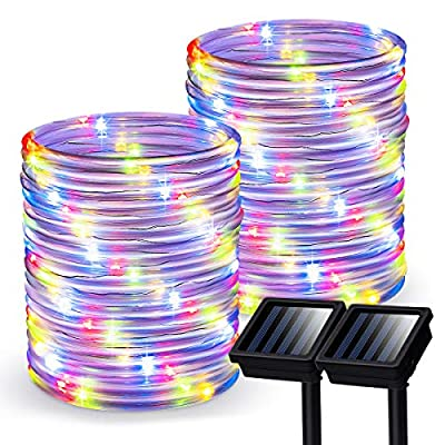 GIGALUMI Outdoor Solar Rope Lights, 2 Pack Solar Powered Outdoor Waterproof Tube Light with 100 LED, 35.7 feet 8 Modes Copper Wire Fairy Lights for Garden Fence Patio Yard(Multicolor)