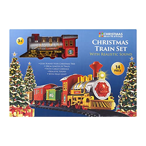 The Christmas Workshop Deluxe Santa's Express Delivery Christmas Train Length Track | Realistic Sounds & Light