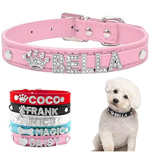 Hundehalsband mit Name, Personalisiert PU Leder Halsband und Leine Set mit Strass, Dog Collar Namensbuchstaben und Charms D-Ring für Kleine und Mittelgroße Hunde Geeignet (Rosa S)