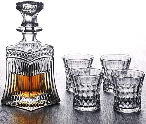 SOAR Botellero Vidrios De Vaso Whisky Decanter Demandadores Decantadores De Whisky Gafas Y Decanter Conjunto De Regalo De Alcohol De Cristal Sin Plomo para Scotch Bourbon Cóctel Vodka Cognac