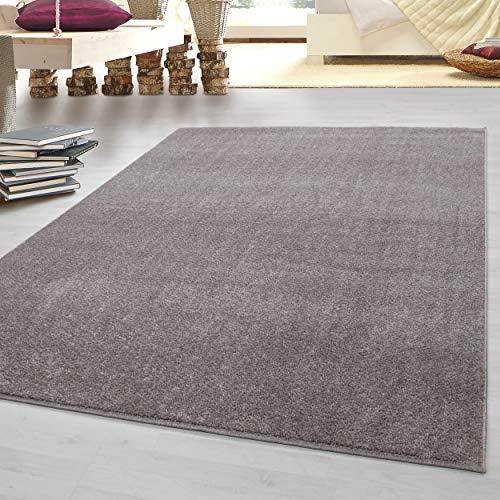 HomebyHome tappeto moderno a pelo corto, economico, tinta unita mélange, per salotto, camera da letto, corridoio, cucina, 100% polipropilene, Beige, 240 x 340 cm