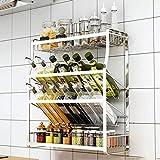 Estante de cocina para especias de 4 capas, multifuncional para el hogar, antideslizante, diseño oblicuo, acero inoxidable 304, antioxidante, fuerte capacidad de rodamiento/plata/45 x 18 x 52 cm
